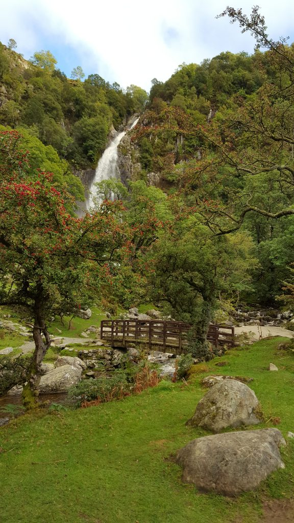 Aber Falls and footbridge
